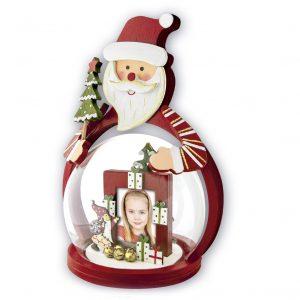 decoracion navidad de brubuja de cristal con foto y decorado en madera roja motivo navidad