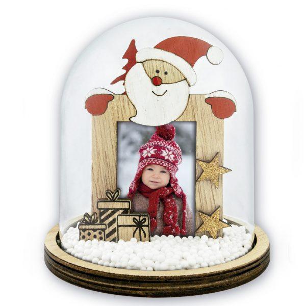 marco de madera navideño